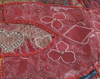 Fabric Home Decor Patchwork Beads Cotton Velvet Satin Sequins Hand Made in India Boho Pink Red Purple