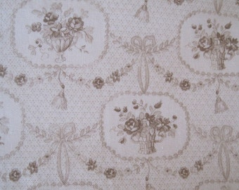 French Floral Basket Fabric Home Decor Chocolate Colorway 1 Plus Yards Remnant