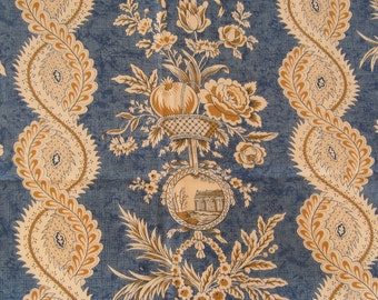 Fabric Home Decor Upholstery Drapery Designer  Stroheim & Romann French Toile Blue Gold  Ivory 1 Yard