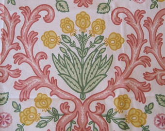 High Quality Home Decor Fabric Robert Allen By Susan Sargent 2 Yard Remnant Coral Yellow  Pink Green On