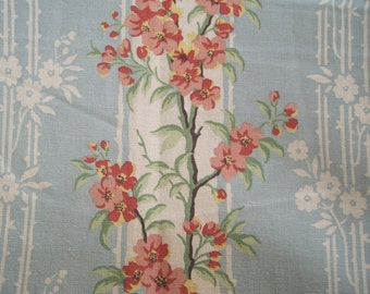 Decorative Fabric Home Decor Drapery Upholstery Aqua Teal Coral Pink Screen Print 1 1/4 Yards