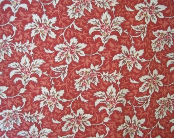 Fabric Home Decor Yardage Upholstery Floral Pattern Red  Cinnamon Spice 2 Plus Yards