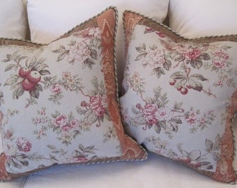 PAIR Decorvative Pillows Home Decor Fabrics Collage OOAK Vintage Cottage Style New 18 x 18 Down Inserts