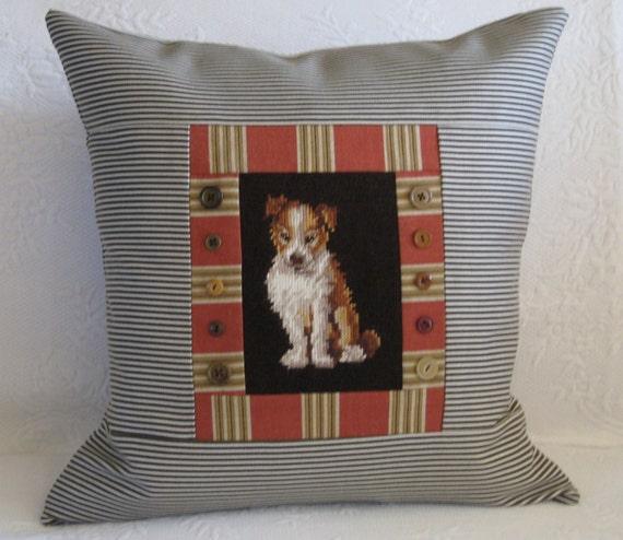 Vintage Needlepoint Pillow Dog Puppy Stripe Canvas Vintage Buttons 20 x 20 Down OOAK
