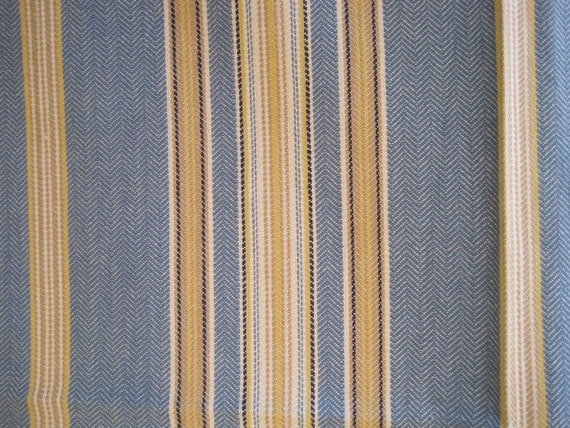 Fabric Home Decor Upholstery Stripe Blue White Yellow 1 Yard