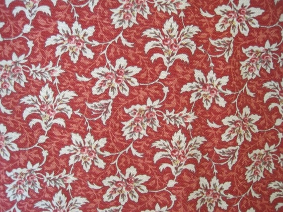 Fabric Home Decor Yardage Upholstery Floral Pattern Red