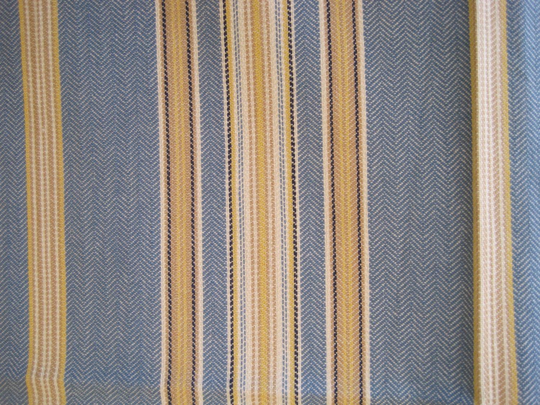 Fabric Home Decor Upholstery Stripe Blue White Yellow 1 Yard