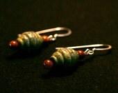 Beehive Earrings - Serpentine and Goldstone
