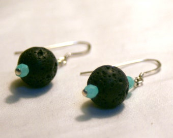 Lava Rock and Czech Glass Earrings