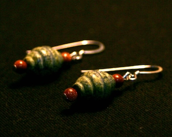 Beehive Earrings - Serpentine and Goldstone