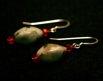 Sesame Jasper and Red Swarovski Crystal Earrings