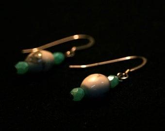 Howlite and Czech Glass Earrings