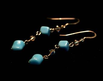 Raindrop Earrings - Vintage German Glass and Swarovski Crystal