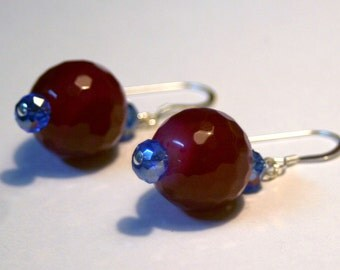 Ruby Jade and Blue Czech Glass Earrings