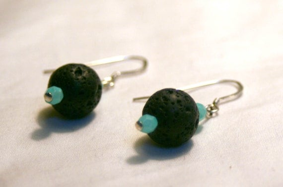 Lava Rock and Czech Glass Earrings