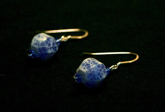 Blue Fire Crackle Agate and Swarovski Crystal Earrings
