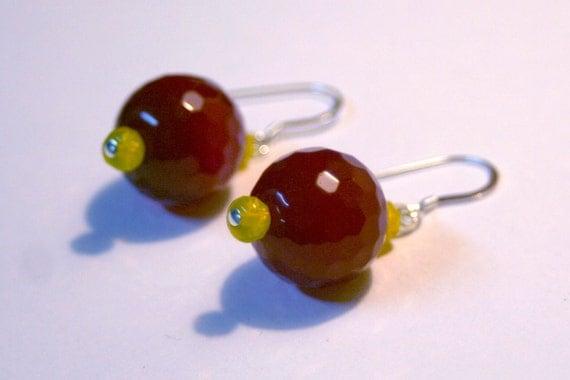 Ruby Jade and Yellow Czech Glass Earrings