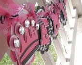 PRINCESS Custom Name Banner in Hot Pink, Black and Zebra Print by EKC