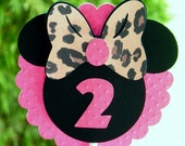 MINNIE MOUSE Hot Pink and Leopard Print Cupcake Toppers by EKC