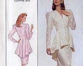 80s Simplicity 8947 Gunne Sax Two Piece Dress Pattern, Straight Skirt, Princess Seam Jacket, Size 12
