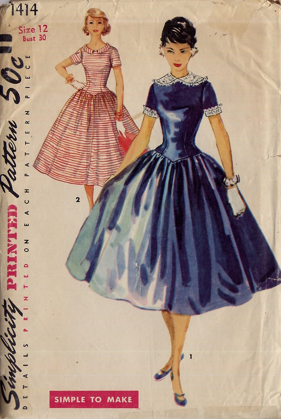 Vintage 1950s Rockabilly Dress Pattern - Simplicity 1414 - Long Fitted Bodice - Detachable Collar and Cuffs -  Size 12 - Uncut