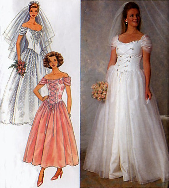 Medieval Wedding Dress Pattern Laced Corset Bridal Gown: Corset Style Wedding Dress Pattern Simplicity 7469