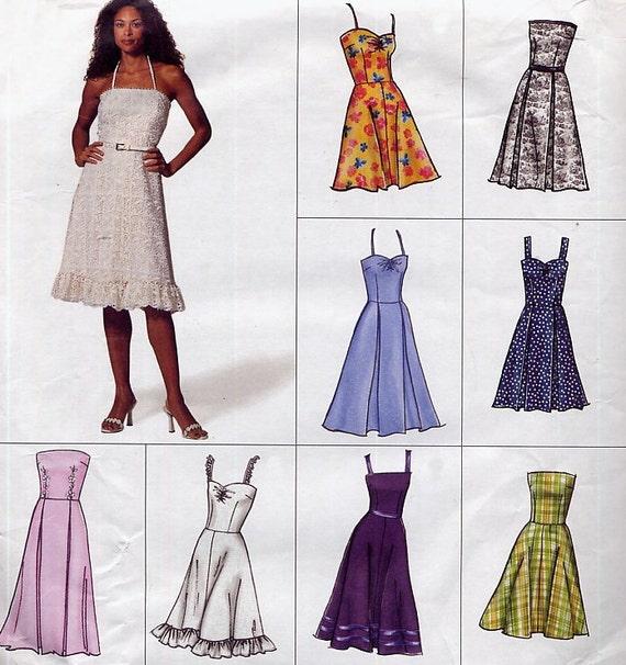 Sundress Pattern - Vogue 2429 Easy Options - Strap Variations - Flared Skirt - Size 14-16-18