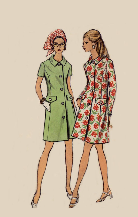 Womens Coat Dress Pattern - Vogue 7738 - Princess Seam - Vintage 1970s - Rolled Bias Collar - Size 12