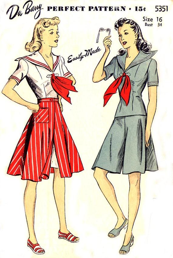1940s DuBarry 5351 - Sailor Blouse, Culotte, Skirt Pattern - Size 16