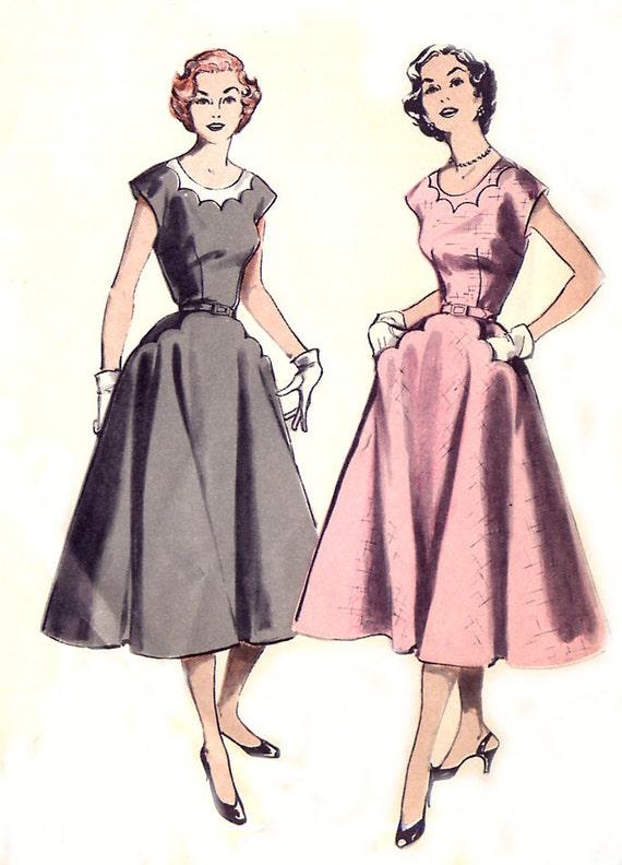 vintage 50s dress pattern butterick 6627 scallop neckline