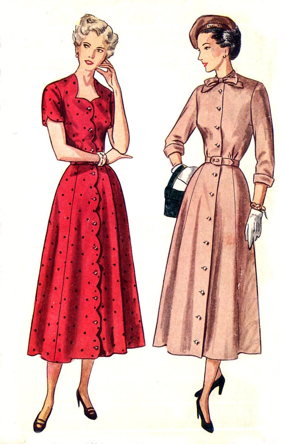 1940s Dress Pattern - Simplicity 2922 - Scallop Edge Detail - Button Front - Half Size 20.5 - Uncut