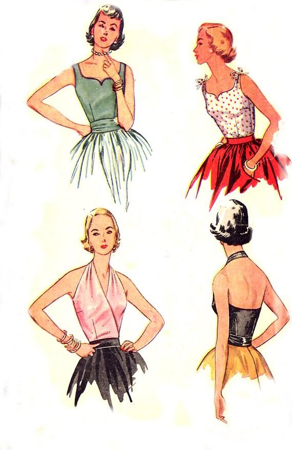 Vintage 50s Halter / Sweetheart Top - Simplicity 4277 - Mock Wrap - Cummerbund - Size 16