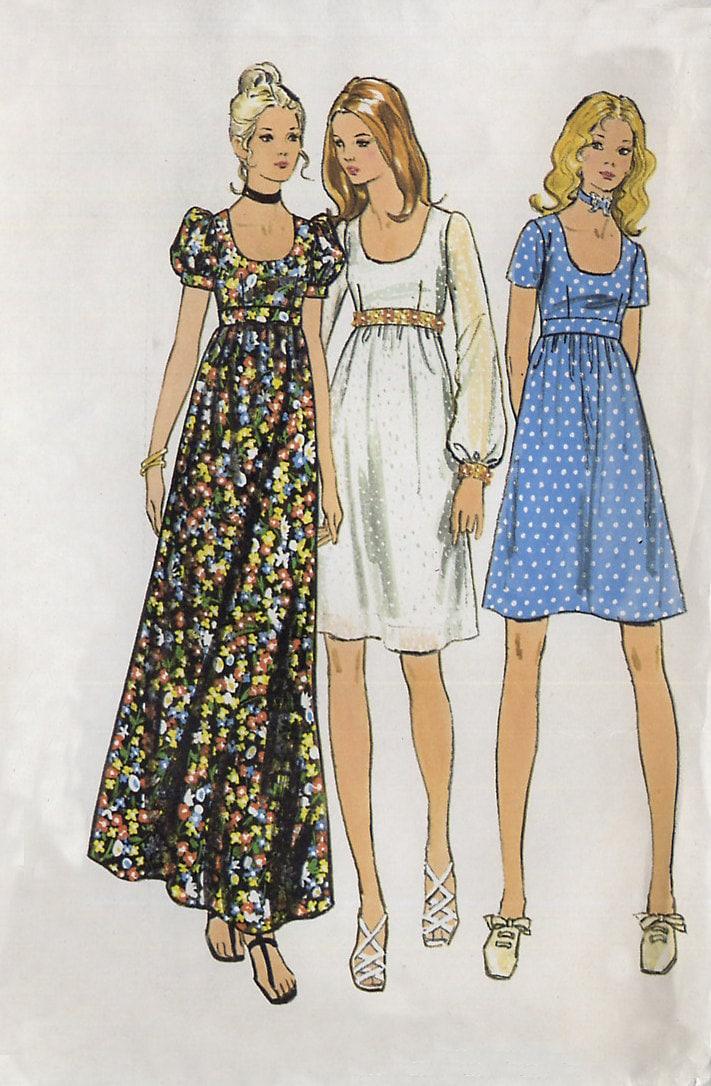 Vintage 1970s empire waist dress pattern butterick 6175 for Empire waist wedding dress patterns