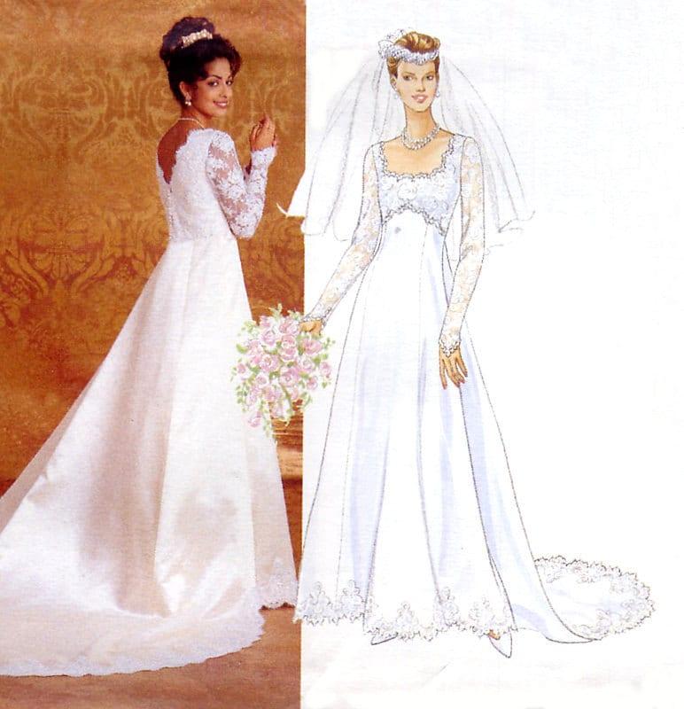 Empire waist wedding dress pattern butterick 4289 princess for Empire waist wedding dress patterns