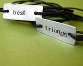 Friendship Bracelets -best friends - Stamped Metal Wrap Bracelets on Cotton Cord