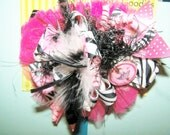 Zebra and Pink Fancy Nancy Type Bow