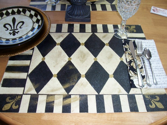 Handpainted Placemats Harlequin Fleur De Lis Design Floorcloth