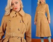 Harve Benard Vintage 70s Tan Wool Trench Coat/Jacket M Medium