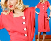 Punch Drunk Love Vintage 40s Lightweight Wool Asymmetric Dress XS Extra Small/S Small