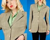 Piazza Sempione Vintage 90s Sage Green Plaid Boyfriend Blazer/Jacket M Medium/44