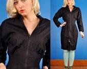 Hourglass Vintage 80s Black Cotton and Ramie Zipper dress M Medium/L Large