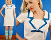 Sailor Vintage 60s White and Blue Trim Nautical Shift Dress S/M