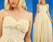 Ivory White Taffeta Vintage 40s/1940s Skinny Strap Maxi Wedding Bridal Dress w/ Ruching Ruched Bandeau Bodice XS/S
