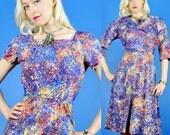 Splatter Paint Vintage 50s Artsy Cotton Party Dress and Bolero/Jacket M