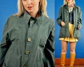 Jungle Green Vintage 30s Chin Strap Cotton Military Jacket w/ Inside Pockets L