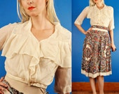 Sheer Ivory Vintage 20s White Silk Sailor Collar Flapper Blouse/Top w/ Embroidery XS/S
