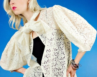 SHEER WHITE LACE Vintage 30s 1930s VICTORIAN DRESS COAT/JACKET.Bow XS Small