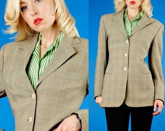 Piazza Sempione Vintage 90s Sage Green Plaid Boyfriend Blazer/Jacket M Medium/44
