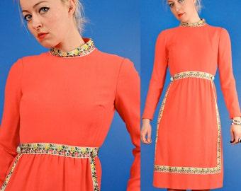 Coral Pink Vintage 60s Wool Crepe and Floral Trim Dress XS Extra Small/S Small