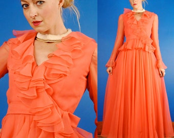 Mollie Parnis Vintage 70s Hot Coral Pink Maxi Ruffled Sheer Chiffon Party Dress M